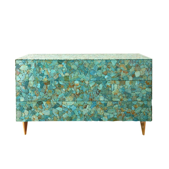 Kam Tin - Turquoise Large Chest of Drawers, France, 2015 For Sale