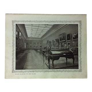 """1906 """"Wallace Collection - the Great Gallery"""" Famous View of London Print For Sale"""