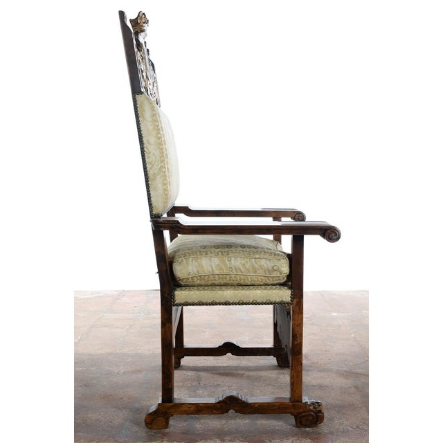 Gold Renaissance Arm Chairs - Pair For Sale - Image 8 of 10