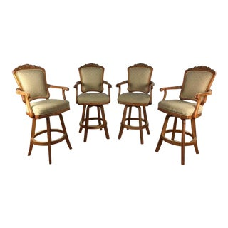 Mikhail Darafeev Upholstered Bar Chairs - Set of 4 For Sale
