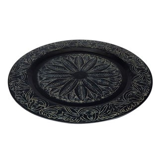 Round Rustic Black Handmade Embossed Tray With Aluminium Etched Pattern For Sale