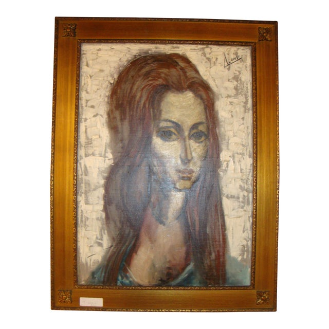 """""""Young Lady With Flowing Hair"""" Oil on Canvas Portrait Painting For Sale"""