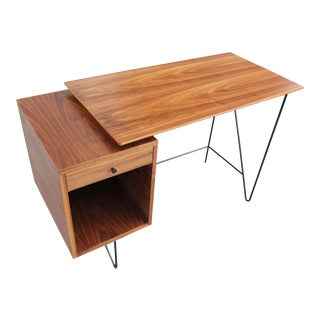 Danish Modern Walnut and Black Wire Writing Desk For Sale