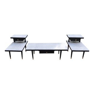 1960s Vintage Laminate Wood & Brass Coffee Table & Side Tables - Set of 3