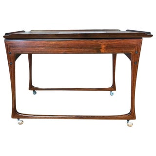 Uncommon J. Ingvar Jensen Rosewood Sliding-Top Bar Cart For Sale