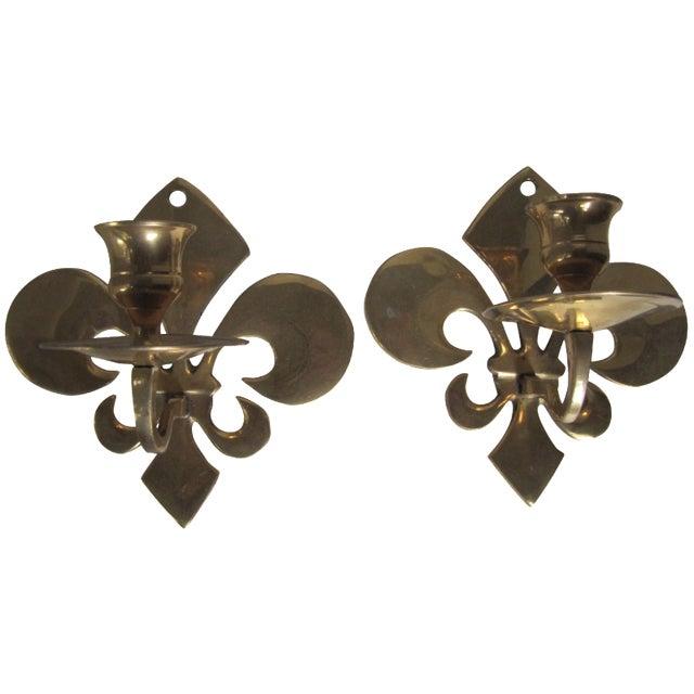 Fleur de Lis Candle Sconces - A Pair - Image 1 of 6