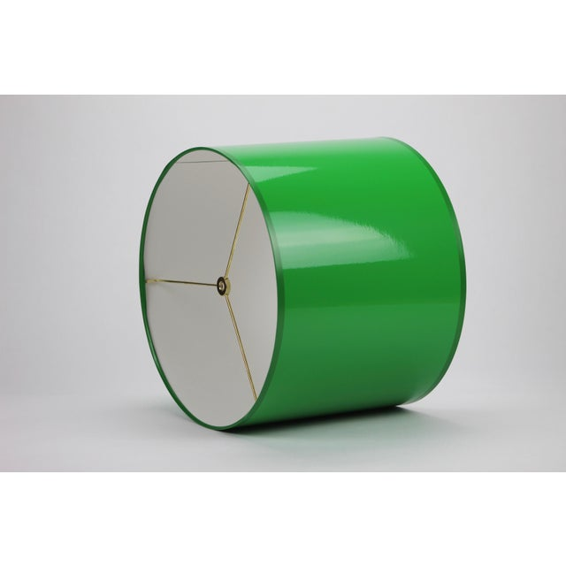 Metal Large Kelly Green Drum Lamp Shade For Sale - Image 7 of 7