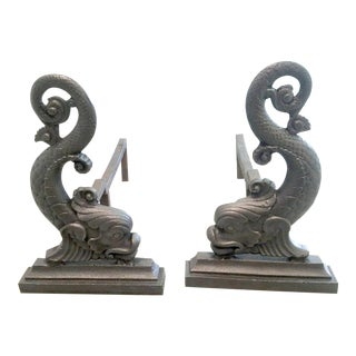 Bradley & Hubbard Dolphin Andirons - A Pair For Sale