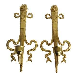 1990s Neoclassical Brass Candle Wall Sconces - a Pair