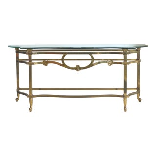 Brass Console Table with a Scalloped Beveled Glass Top For Sale