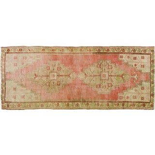 "1930s Turkish Traditional Pink and Taupe Wool Khotan Rug - 3'6""x8'8"""