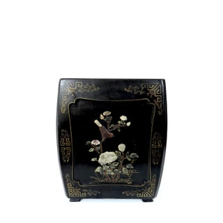 Vintage Chinese Black Lacquer & Floral Soapstone Drum Stool or Plant Display Stand/Pedestal Preview