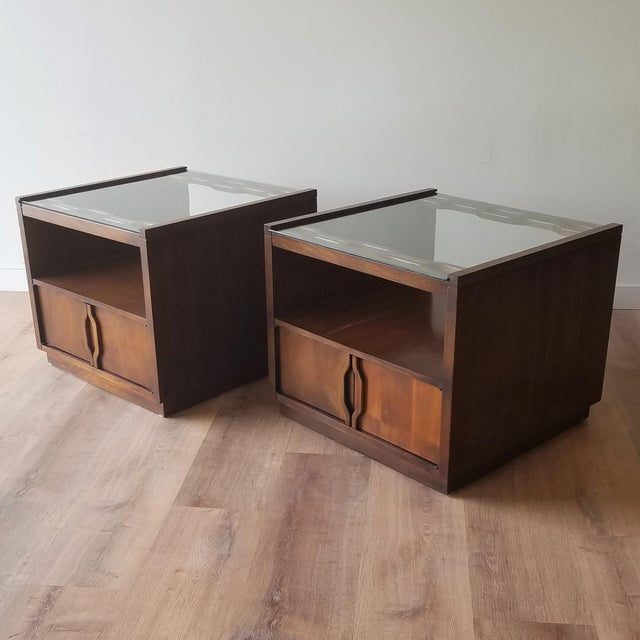 Vintage Mid-Century Modern Walnut Side Tables With Glass Tops - a Pair For Sale - Image 13 of 13