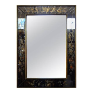 French Maison Jansen Inspired Eglomise Mirror in a Gilt Wood Frame