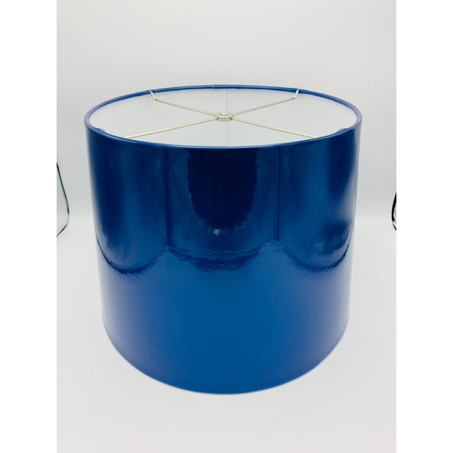 Listed is a fab, custom metallic blue vinyl lampshade. A true flashback to vintage decor! See photo 5 for most accurate...