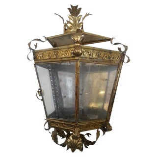 Venetian Style Gilt Tole and Glass Wall Lantern