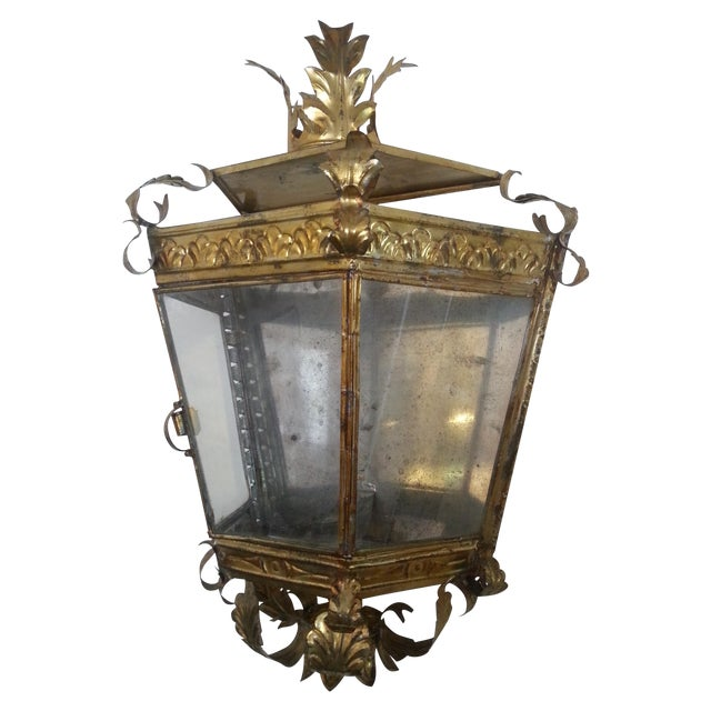 Venetian Style Gilt Tole and Glass Wall Lantern For Sale