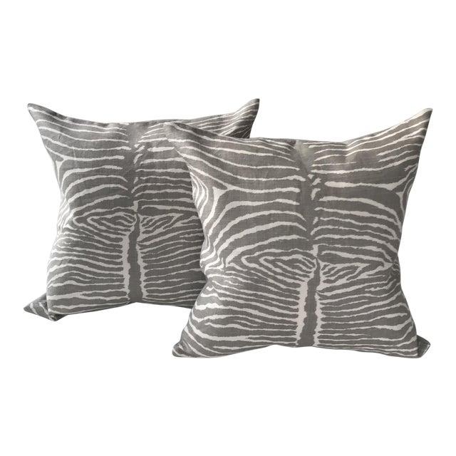 Brunschwig & Fils Le Zebre Pillows - A Pair For Sale