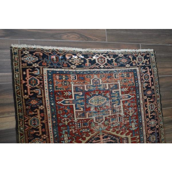 """Islamic Antique Shabby Chic Heriz Wool Rug - 3'4"""" X 4'7"""" For Sale - Image 3 of 7"""