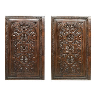 English Renaissance Carved Walnut Panels - a Pair For Sale