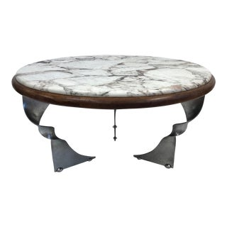 Unique Steel Base and Marble-Top Coffee Table For Sale