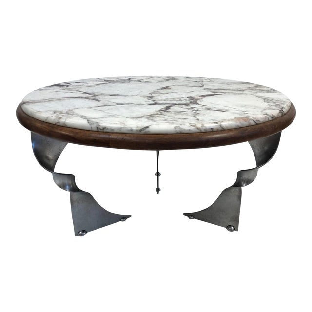 New York Marble Coffee Table: Exquisite Unique Steel Base And Marble-Top Coffee Table