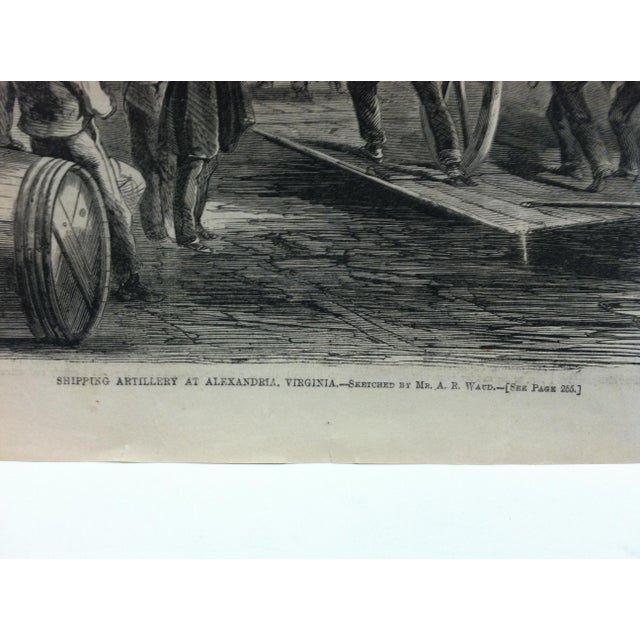"1862 Antique ""Shipping Artillery at Alexandria Virginia"" The Harper's Weekly Print For Sale - Image 4 of 6"