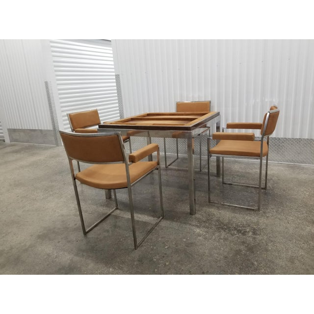 Mid-Century Modern 1970's Signed Willy Rizzo Gaming Table & Chairs For Sale - Image 3 of 13