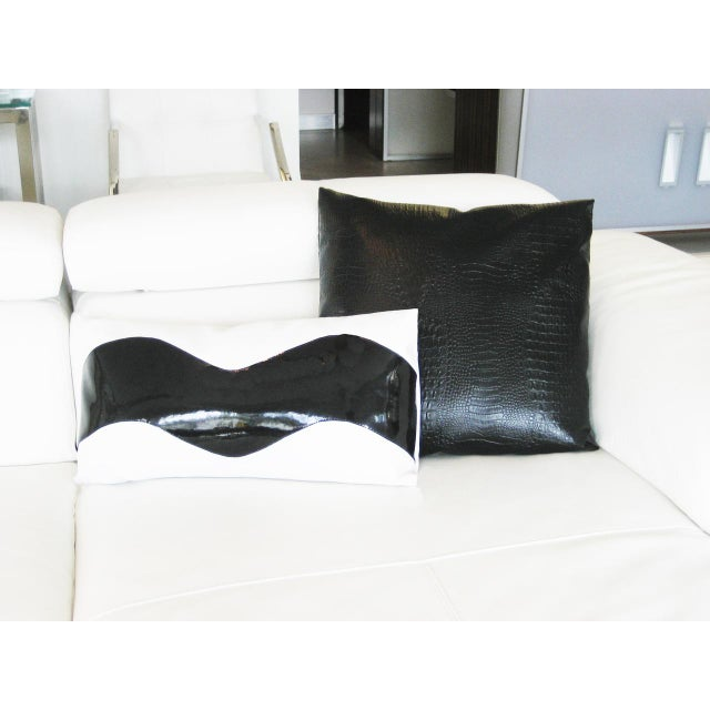 Lumbar Wave Black and White Decorative Pillow For Sale - Image 4 of 5