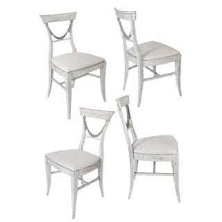 Set of Painted Dining Chairs For Sale