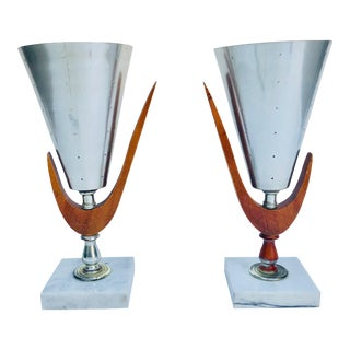 Mid-Century Atomic Age Table Lamps - a Pair