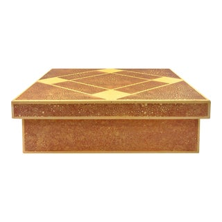 1970s Rectangular Lacquered Box with Diamond Patterned Lid For Sale