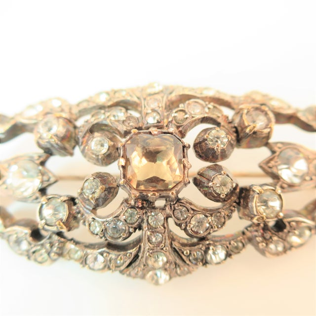1900 - 1909 Edwardian Hand-Wrought Sterling & French Paste Brooch1905 For Sale - Image 5 of 11