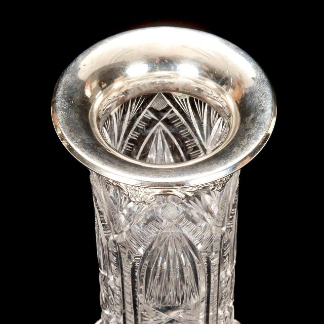 Crystal English Heavy Carved Crystal Vase with Sterling Silver Rim For Sale - Image 7 of 7