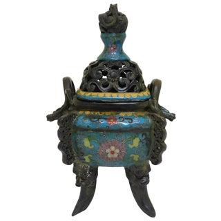 Chinese Metal Blue Enamel Cloisonne Incense Burner For Sale