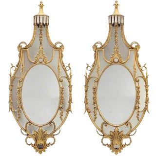 Pair of Early 20th Century Monumental Louis XVI Style Giltwood Console Mirrors For Sale