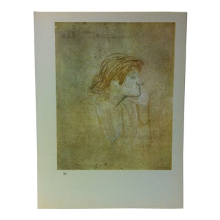 """Circa 1980 """"The Drinker 1889"""" Color Print of a Toulouse-Lautrec Drawing For Sale"""