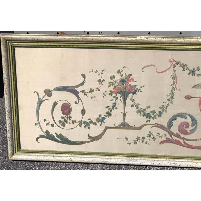 Antique White Robert Adam Style Painted Interior Architectural Panel, Framed For Sale - Image 8 of 10