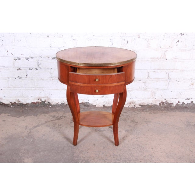 Metal Baker Furniture French Regency Mahogany and Brass Side Table For Sale - Image 7 of 13