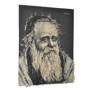 "Abraham Rattner (1893-1978) Mixed Media ""Rabbi"" Portrait C.1960 For Sale"