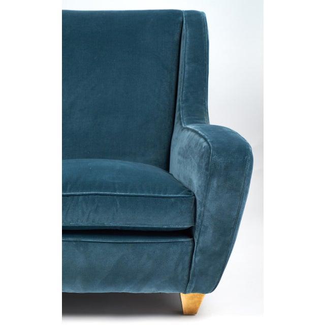 Mid-Century Italian Poltrona Frau Velvet Sofa For Sale - Image 9 of 10