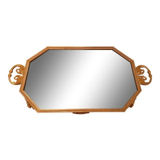 Empire Style Gold Frame Mirrored Tray With Handles For Sale
