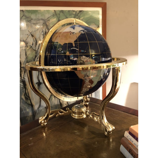 Mixed Stone and Brass Desktop Globe For Sale - Image 11 of 11