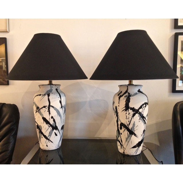 Black Vintage Jackson Pollock Style Splatter Glaze Lamps - a Pair For Sale - Image 8 of 8