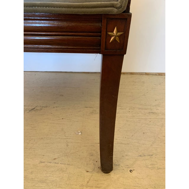 19th Century Mahogany Neoclassical Regency Style Arm Chair With Stars For Sale - Image 9 of 13