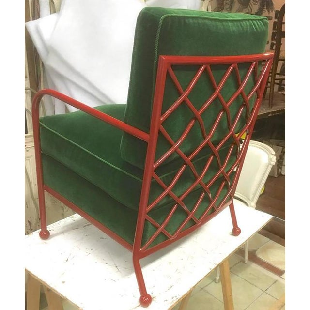 Red Jean Royère Pair of Croisillon Armchairs in Red Lacquered Wrought Iron For Sale - Image 8 of 9