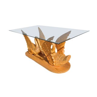 1980s Indonesian Tan Teak Swan Base Console Table For Sale