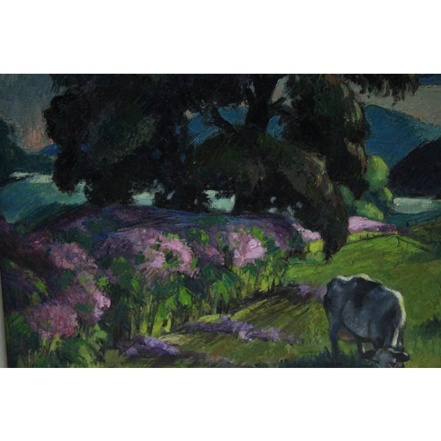 """Oil Paint """"Eventide"""" Cow Oil Painting by Buchholz For Sale - Image 7 of 9"""