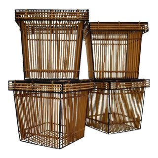 1960s Wicker and Steel Baskets For Sale