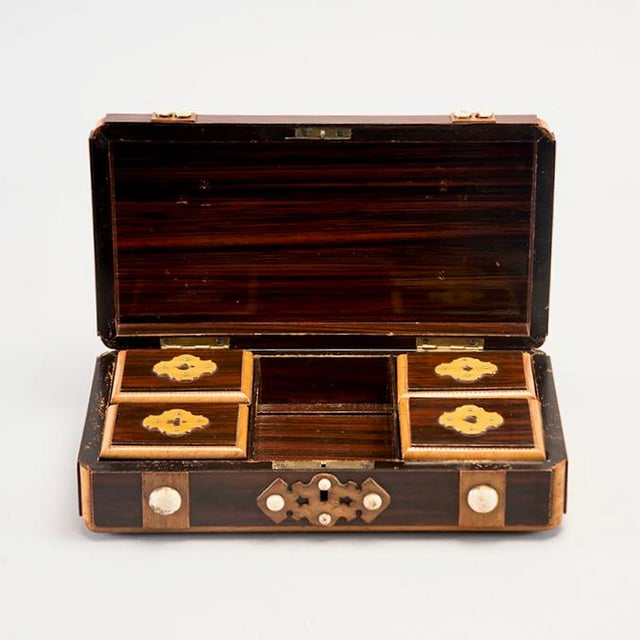 Wood French Inlaid Mahogany Game Box With White Stones For Sale - Image 7 of 7